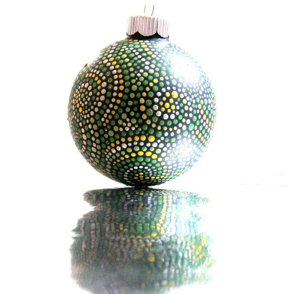 Hand Painted Hollow Glass Ornament Green and Yellow