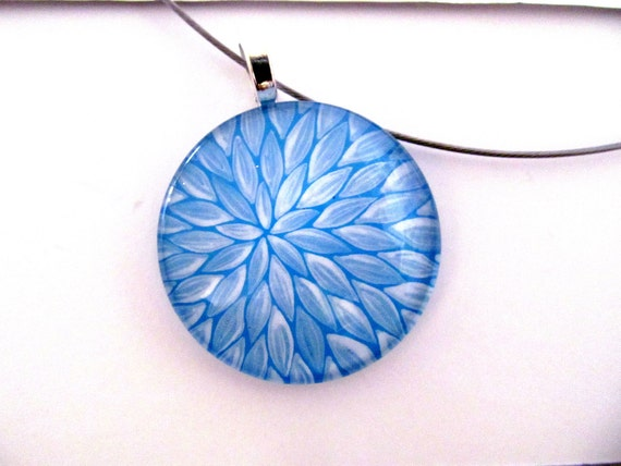 Winter Wonderland: Blue and White Round Glass Pendant Hand painted