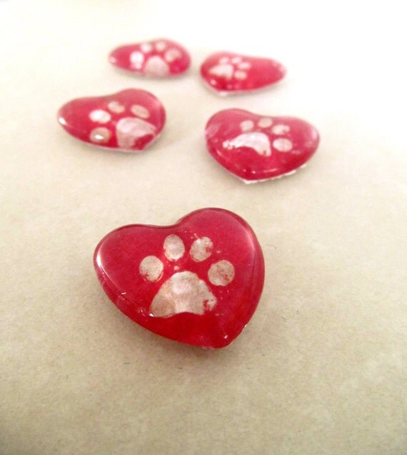 Red Hearts Five Little Heart Paw Print Magnets