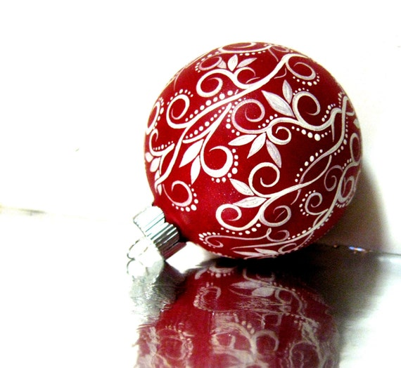 Christmas Ornament: Red and White Ornament Hand Painted Medium Glass Ornament personalize