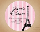 Address Labels Pink Eiffel Tower
