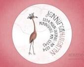 Personalized Return Address Label Sticker - Fancy Flamingo