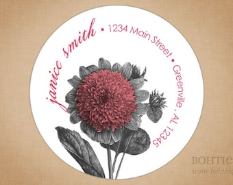 Custom Return Address Label Stickers: Botanical Distressed Pink
