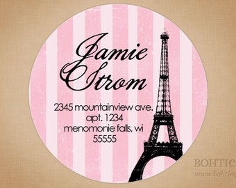 Address Labels Pink Eiffel Tower