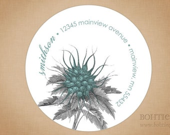 Custom Return Address Label Stickers: Botanical Distressed Blue