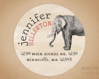 Custom Return Address Labels - Elephant, Present