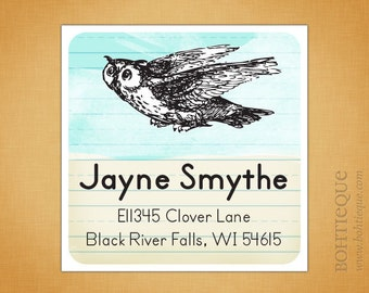 Personalized Return Address Label Sticker or Bookplate - Book Owl