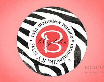 Custom return address labels, gift for her, Return to label, personalized address label, custom return label,  Wild Zebra