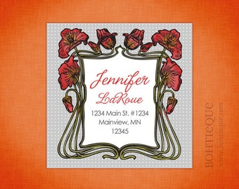 Red Poppies Grey Square Address Labels, Gift Tags