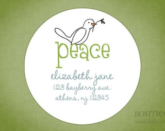 Custom Holiday Address Labels - Peace Dove