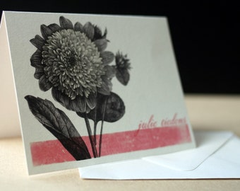 Botanical Distressed Folded Notecards, Personalized