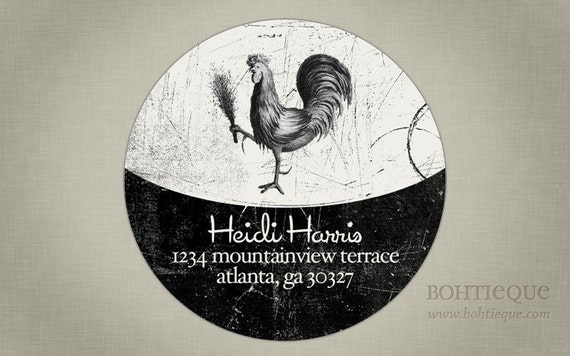Rooster Address Label or Gift Tag