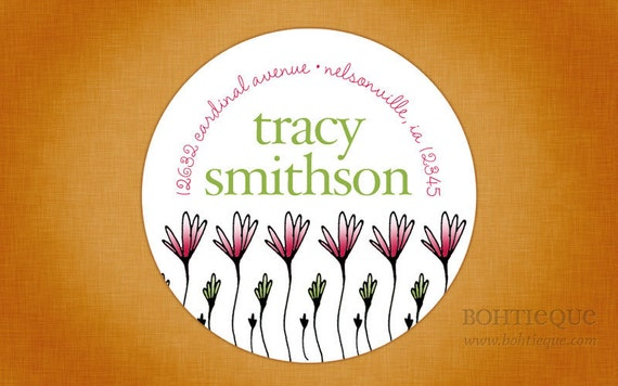 Scribblicious Tall Flower Address Labels, Shop Stickers, or Gift Tags