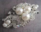 Wedding hair comb silver pearl rhinestone bridal