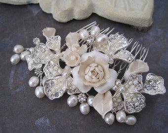 Wedding Hair Comb Porcelain ivory flowers silver wire wrapped hair comb