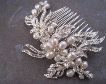 Wedding Hair Comb Silver metal pearl and rhinestone wire wrapped