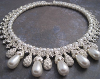 Wedding pearl necklace Silver pearl and rhinestone bead choker