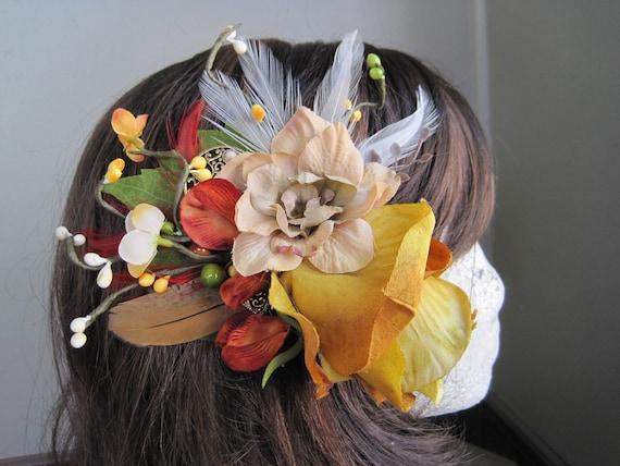 Autumn rose flower feather fascinator hair clip