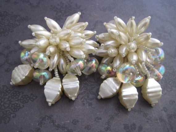 Ivory pearl wedding shoe clips