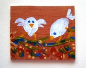 A Sweet Little Bird  ACEO Card (No 112) - Original Miniature Mixed Media Aceo Card by bdbworld on Etsy - ACEO