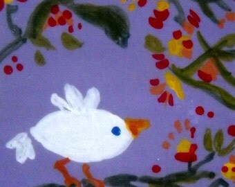 A Sweet Little Birds card (No22) - Original Mini Paint Acrylic on paper