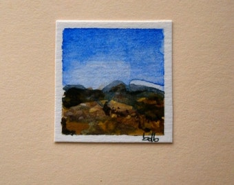 A Tuscany Landscape (No 30) - Original Mini Watercolour on paper