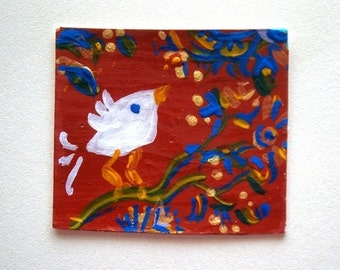 A Sweet Little Bird  ACEO Card (No 110) - Original Miniature Mixed Media Aceo Card by bdbworld on Etsy - ACEO