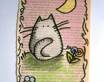 The Cat And The Moon - Original Illustration - by bdbworld on Etsy