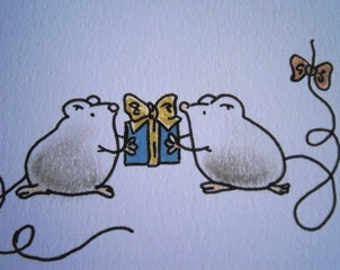 Sweet little mice (No 10)  - Original Miniature Aceo by bdbworld on Etsy