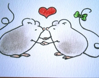 Sweet little mice (No 26)  - Original Miniature Aceo by bdbworld on Etsy