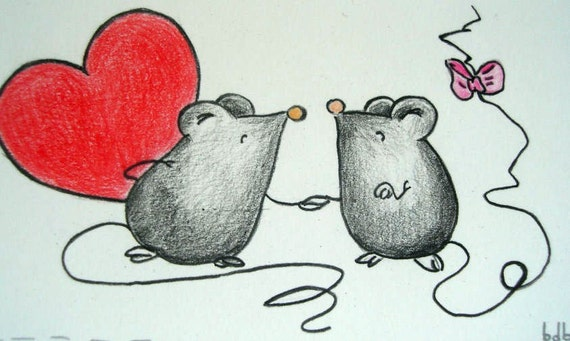 A Two Loving Mice  notecard (No3) - Original Drawing on paper