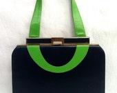 1960's Vintage Navy Blue and Kelly Green Leather Frame Purse Handbag