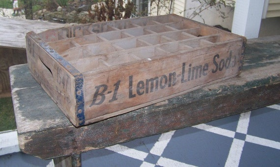 1947 Soda Crate Shelf Or Display Case Lemon Lime Vintage Wood