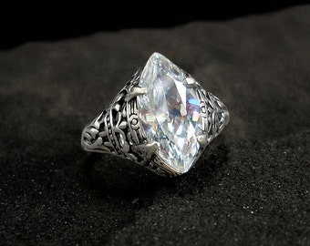 Antique Engagement Ring: Sterling Silver, CZ, antiqued, vintage style, faux diamond, April birthstone, marquise, Art Nouveau, sizes 4-10