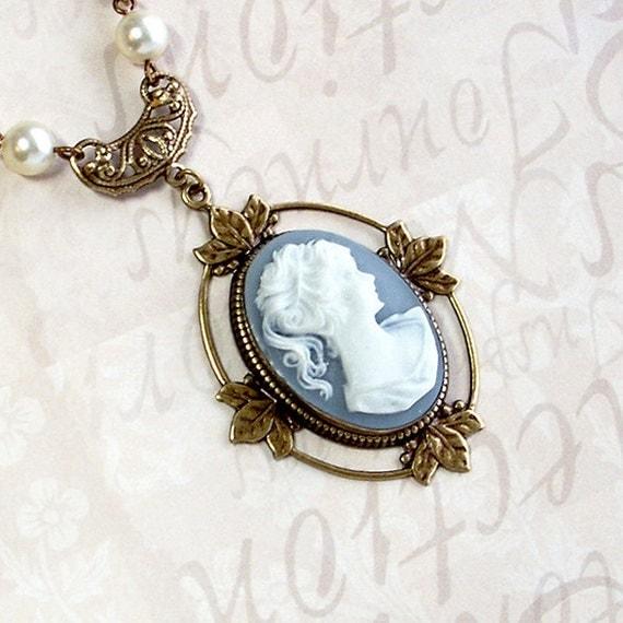 Oak Leaf Cameo: Brass, Resin, Swarovski Pearl - victorian necklace, oak leaf setting, baby blue, wedgewood