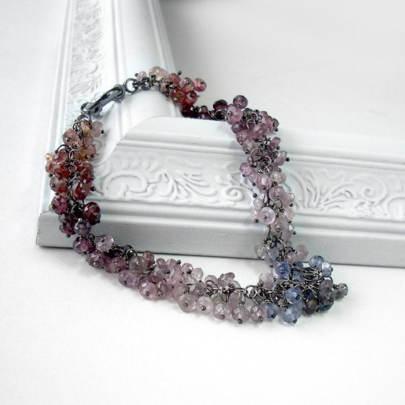 Frosted Rainbow Bracelet: Spinel, Iolite, and Sterling Silver - large 8 inch bracelet, blue tones, faceted rondelles, super luxe