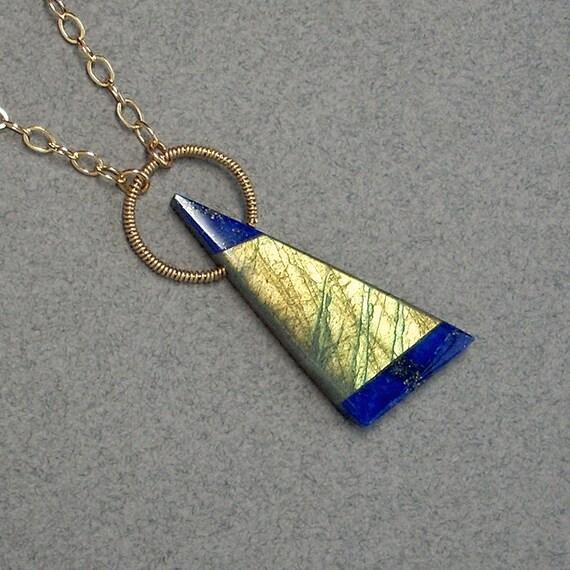 Labradorite and Lapis Pendant: Gold-Filled, Lapis, Labradorite - 20.5 inch long, geometric, intarsia, halo, triangle, blue, green, gold
