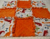 Minky Baby Lovey 18 inch scrappy edges Dino bones & orange dimples