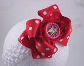 15% off  red white polka dot double layer bow 4 inch shbby flower be mine pink bottlecap newborn baby toddler girl birthday photo
