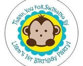 Set of 24 Small Round Monkey Birthday Party Stickers Favor Tags