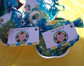 Set of 25 Monkey Party Favor Tags Custom Personalized