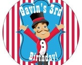 Set of 12 Large Round Circus Birthday Party Stickers Favor Tags