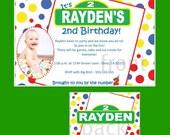 Set of 20 Kid Inspired Birthday Party Invitations Custom