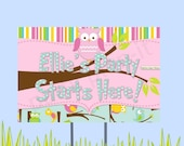 """18""""x12"""" Owl Party Lawn Sign"""