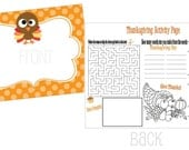 Set of 12 Thanksgiving Activity Placemats
