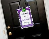 Welcome Door Sign Banner Zebra Peace Sign Birthday Party Tween