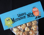 Set of 10 Personalized Monster Favor Bag Toppers