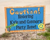 "18""x12"" Dart Gun Birthday Party Lawn Sign"