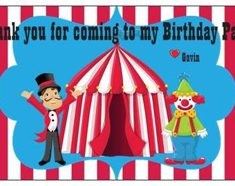 Set of 20 Circus Party Favor Tags Custom Personalized