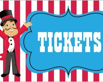 "36""x18"" Vinyl Banner Circus Carnival Tickets Sign or Wording of your choice CUSTOM"